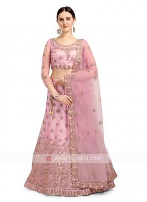 Light Pink Color Net Lehenga Choli