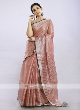 Light pink color plain casual saree