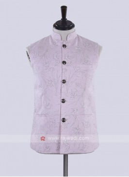 Light pink color printed nehru jacket