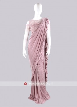 Light Pink color ruffle saree