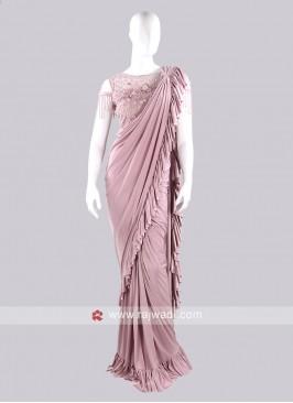 Light Pink color ruffle saree