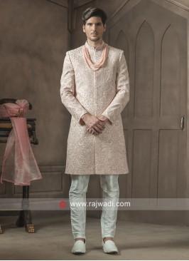 Light Pink Color Sherwani