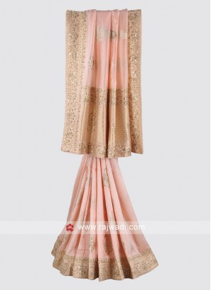 Light pink color silk saree