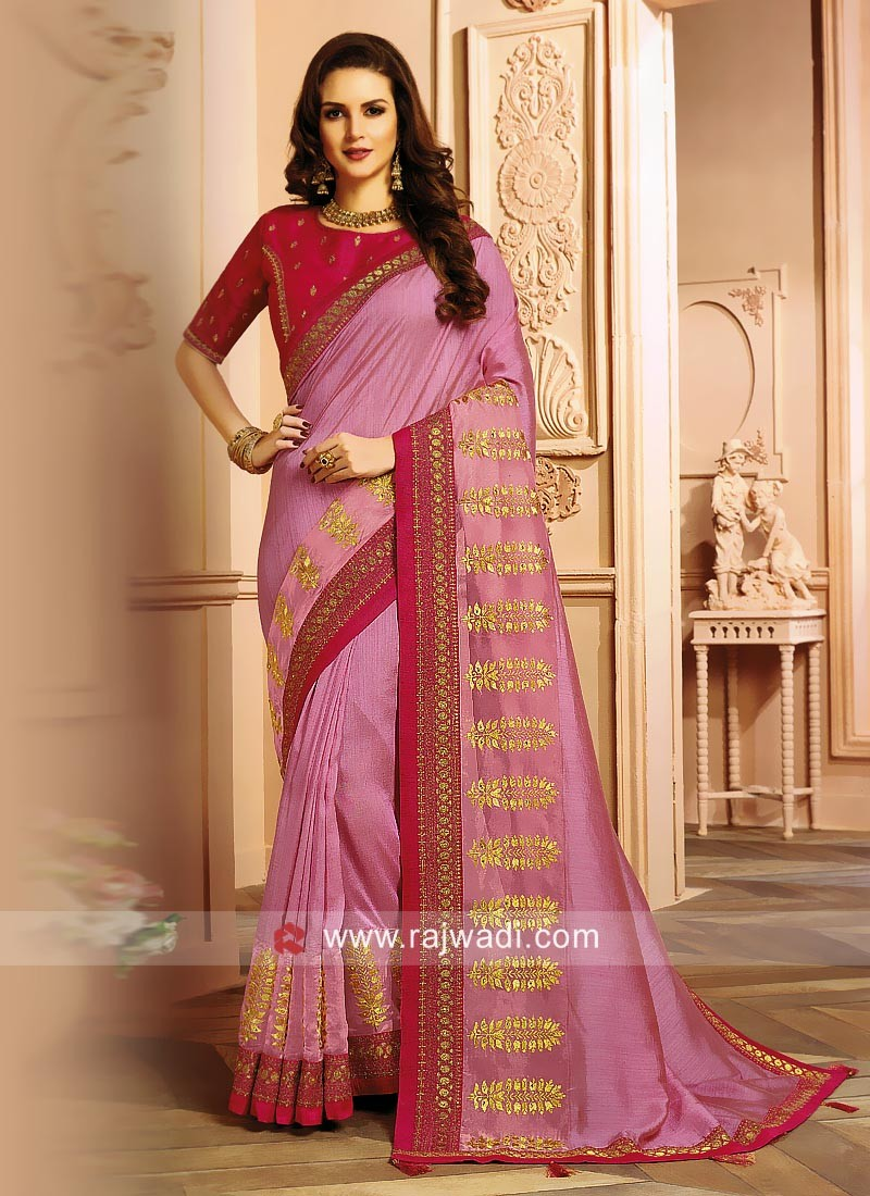 Light Pink Embroidered Saree with Blouse