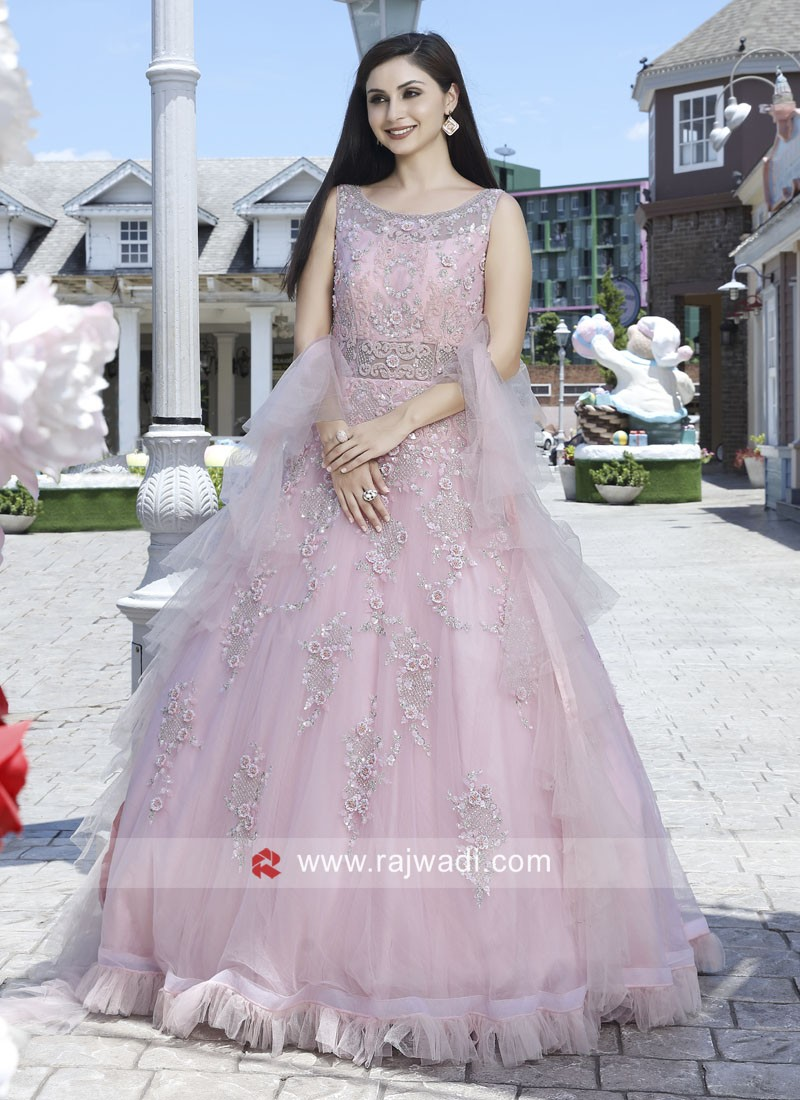 Light Pink Flare Wedding Net Gown with Dupatta