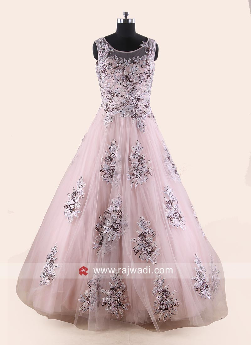 Light Pink Floral Work Fairy Gown
