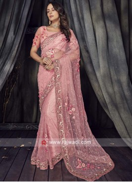 Light Pink Flower Work Saree