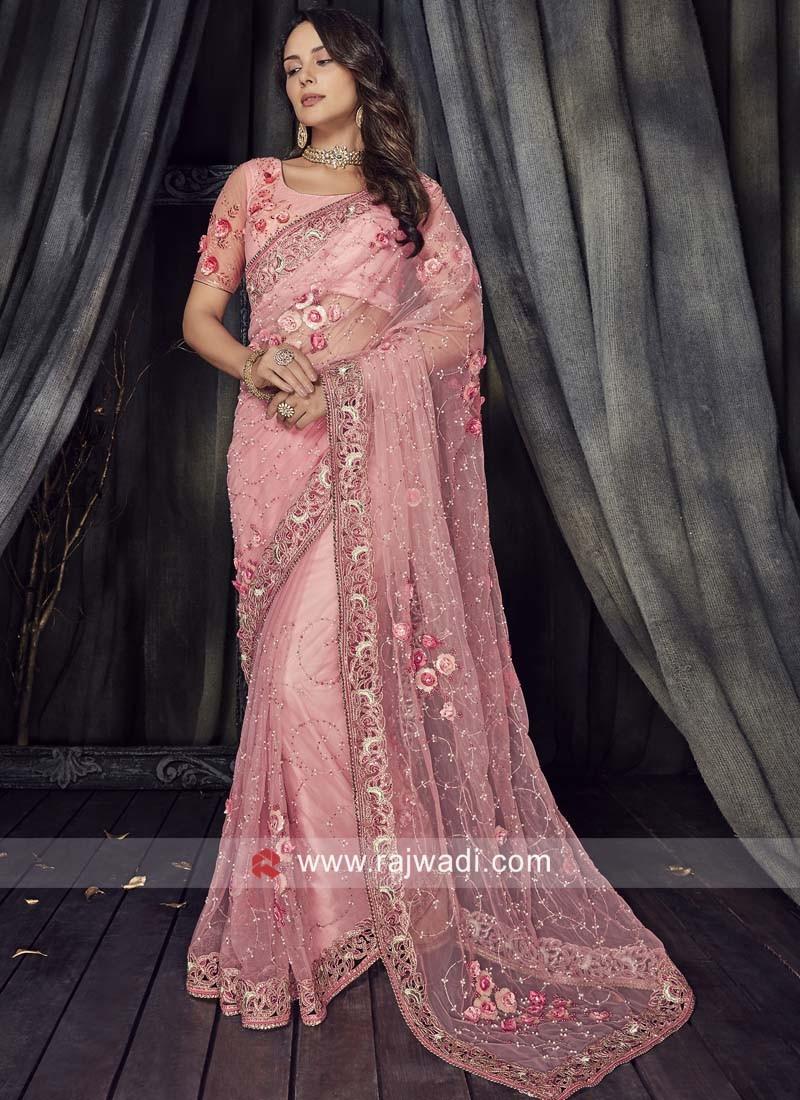 Light Pink Flower Work Saree