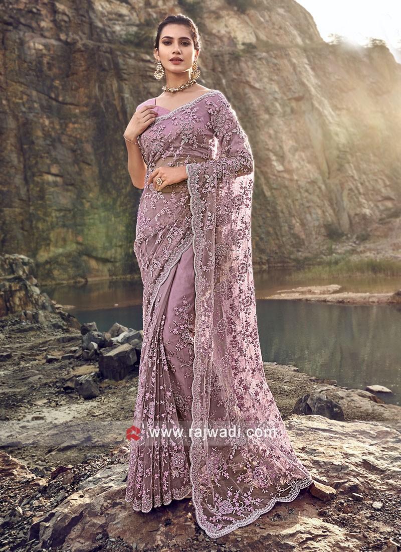 Party Wear Violet Color Saree