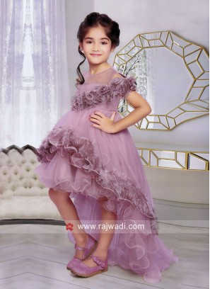 Light Pink Girls Gown with Long Trail
