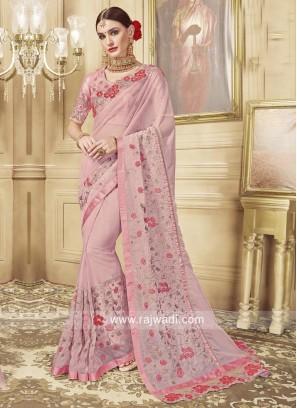 Light Pink Glass Tissue Saree