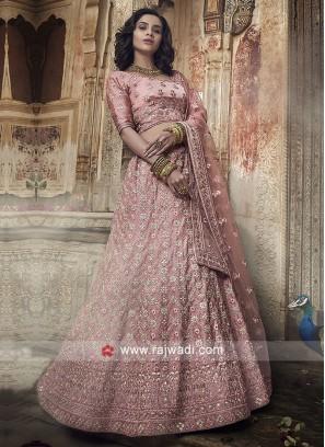 Light Pink Heavy Embroidery Lehenga Choli