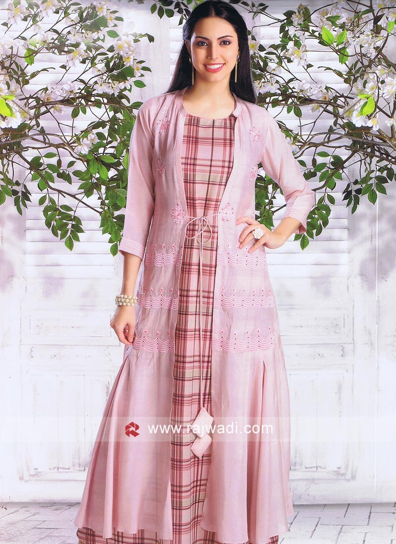 Light Pink Jacket Style Long Kurti