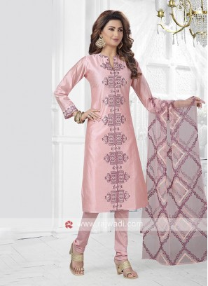 Light Pink Kurta With Churidar & Dupatta