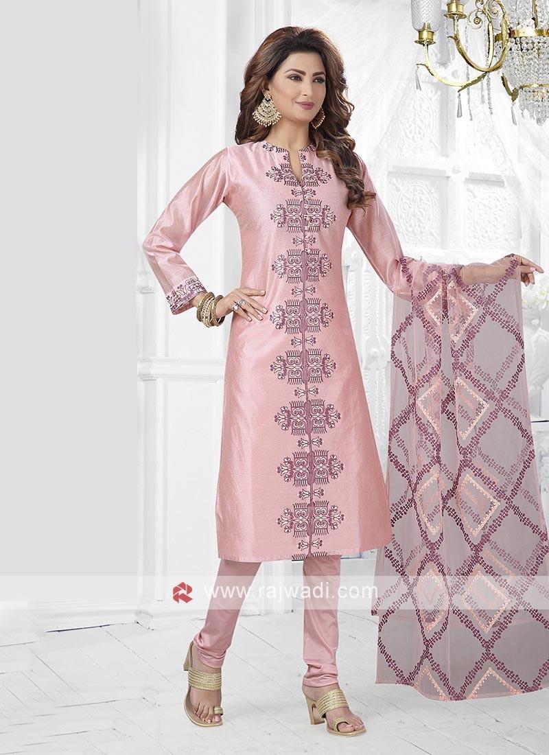 Light Pink Kurta With Churidar & Dupatta