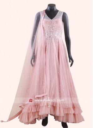 Light Pink Layered Gown with Dupatta