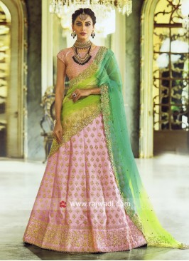 Light Pink Lehenga Set with Shaded Dupatta