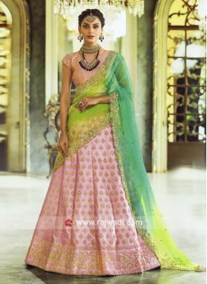 Light Pink Lehenga Set with Shaded Dupatta