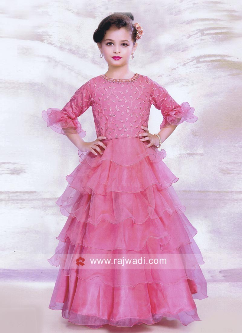 Light Pink Multi Layered Girls Gown