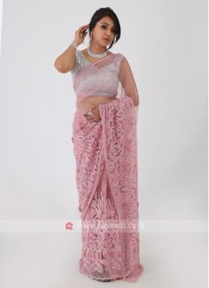 Light Pink Net Saree