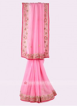 Light Pink Organza Saree