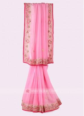 Light Pink Organza Saree