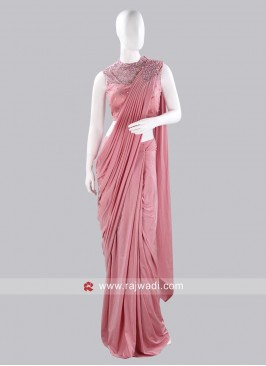 Light Pink Pre Stitched Saree