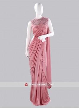 Light Pink Pre Stitched Saree