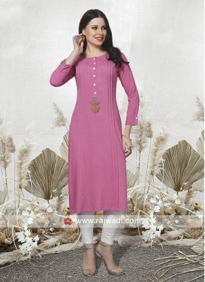 Light Pink Rayon Fabric Kurti