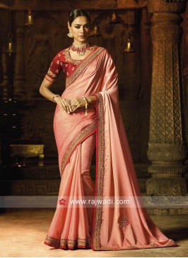 Light Pink Sari with Red Blouse