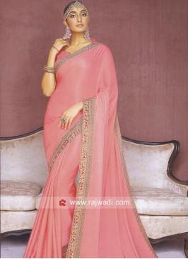 Light Pink Satin Silk Saree