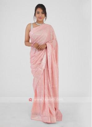 Light Pink Sequins Work Saree