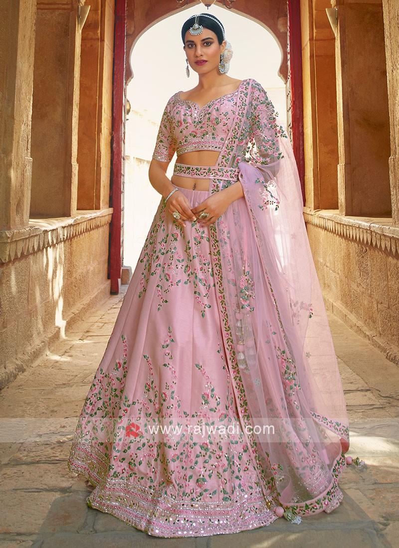 Light Pink Silk Choli suit.