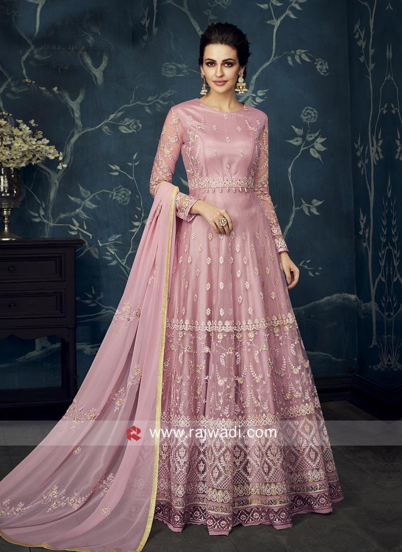Light Pink Silk Anarkali Salwar Kameez