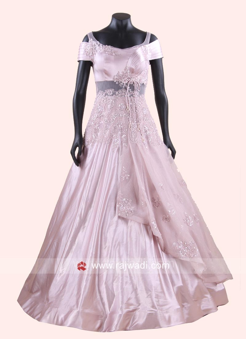 Light Pink Silk Flared Gown