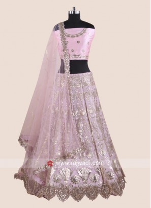 Light Pink Silk Lehenga Choli with Cut Work Border