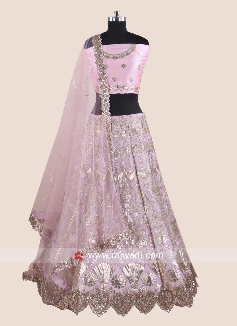 Light Pink Silk Lehenga Choli with Cut Work Border