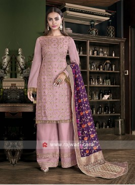 Light Pink Silk Palazzo Suit