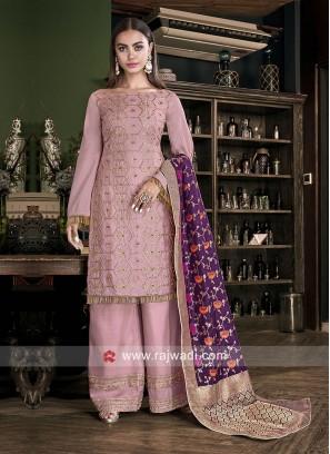 Light Pink Silk Palazzo Suit