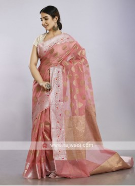 Light pink cotton silk casual saree