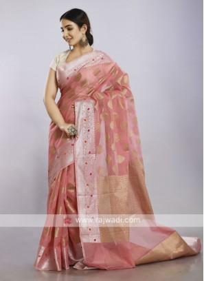 Light pink soft cotton casual saree