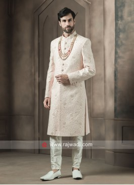 Light Pink Thread Work Sherwani