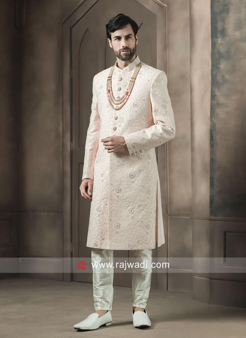 Light Pink Thread Work Sherwani