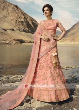 Light Pink Unstitched Lehenga Choli