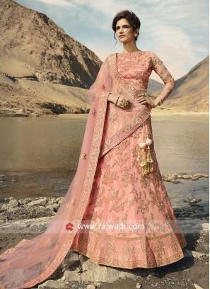 Light Pink Unstitched Lehenga Choli