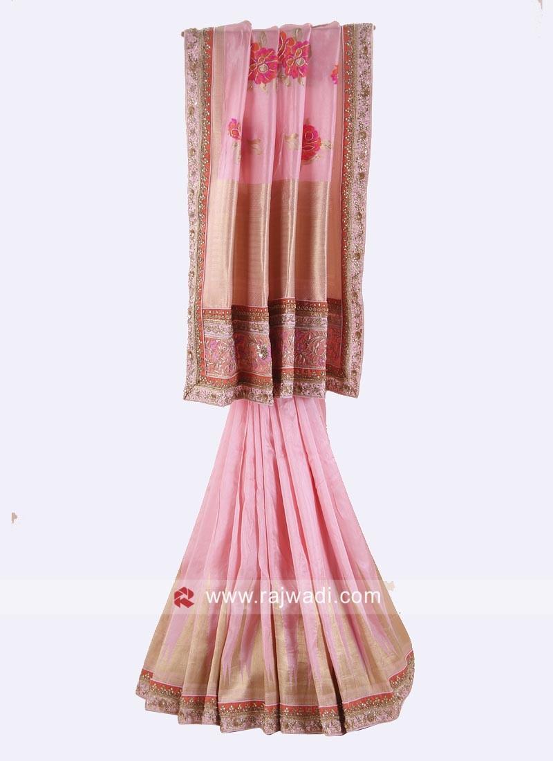 Light Pink Wedding Reception Saree