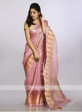 Light pink with gold border casual saree