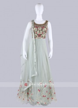Light Pista Color Anarkali Suit with dupatta
