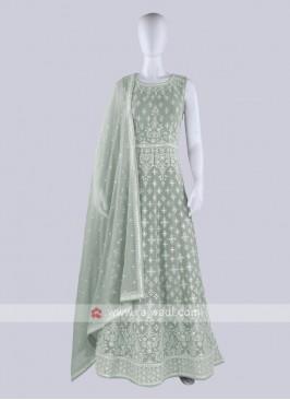 Light Pista Color Anarkali Suit with dupatta