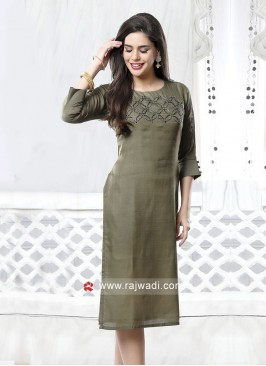 Light Pista Color Kurti